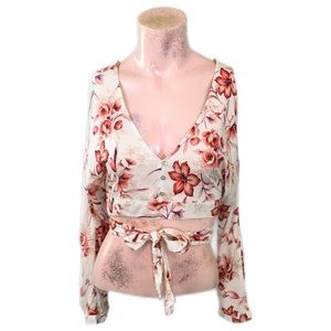 Flying Tomato Floral Cropped Peasant Blouse Size M